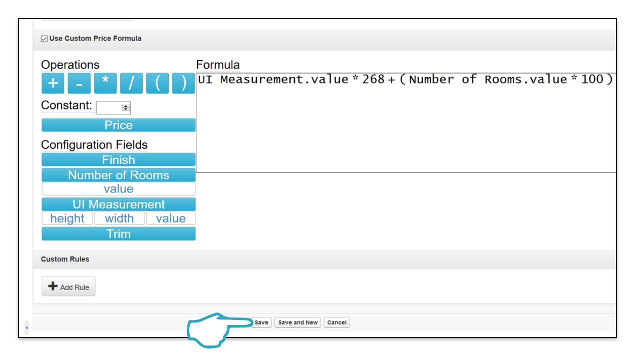 Custom Price Formula save click