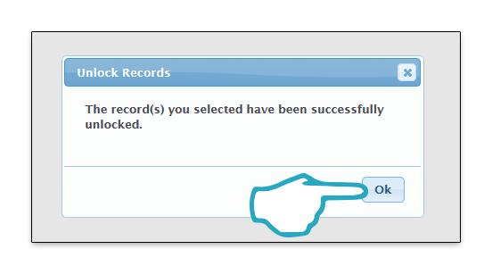 Unlock records pop up OK click