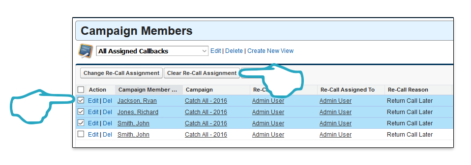 Clear Re-Call Assignment Click