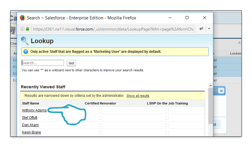 Change Re-Call Assignment Assign to User click