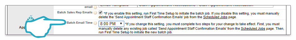 Settings Appointment Emails Batch Time click