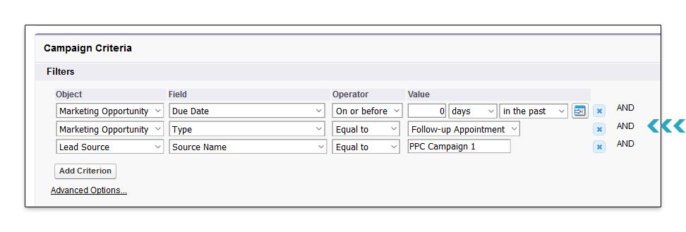 Campaign Filter Criteria Point