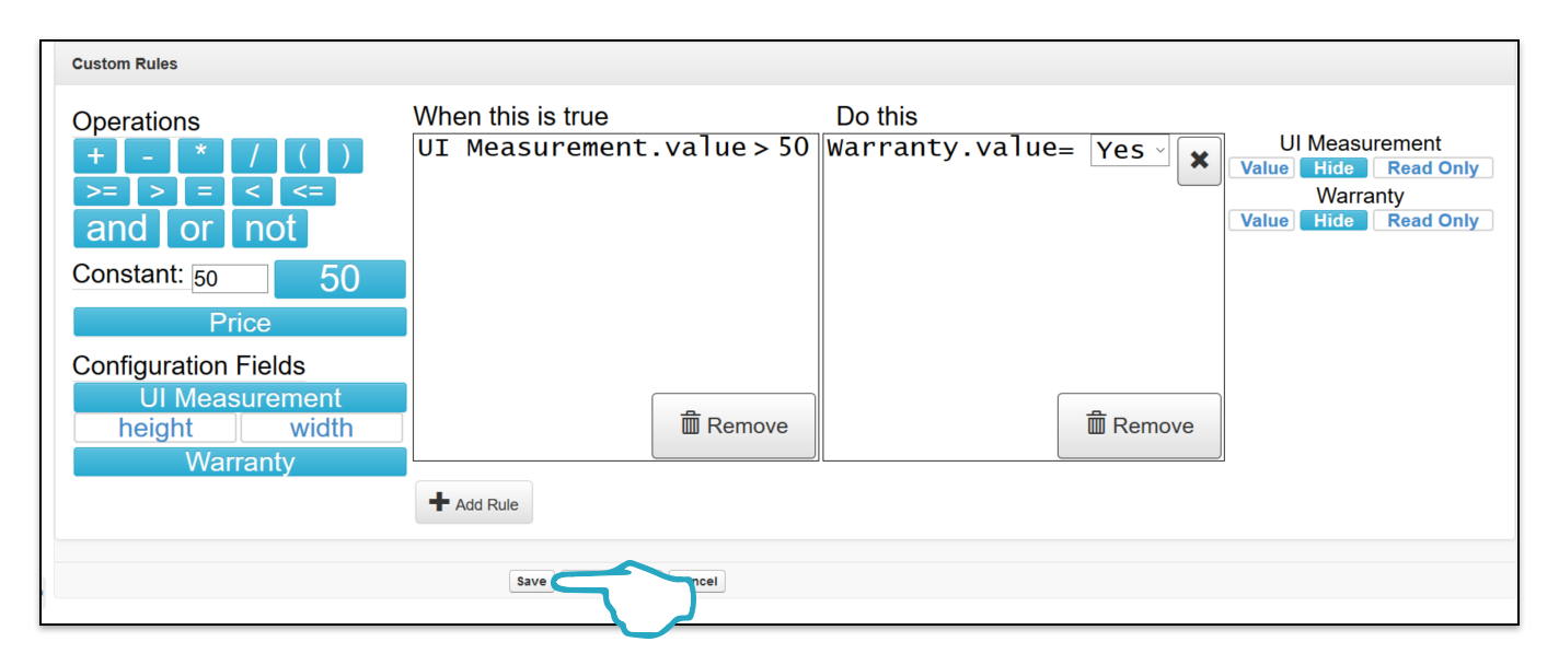 Add Custom Rule Save Click