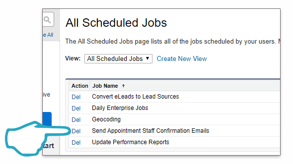 Scheduled email job delete click
