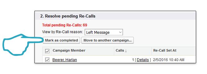 Retire Campaign Mark as Complete Click