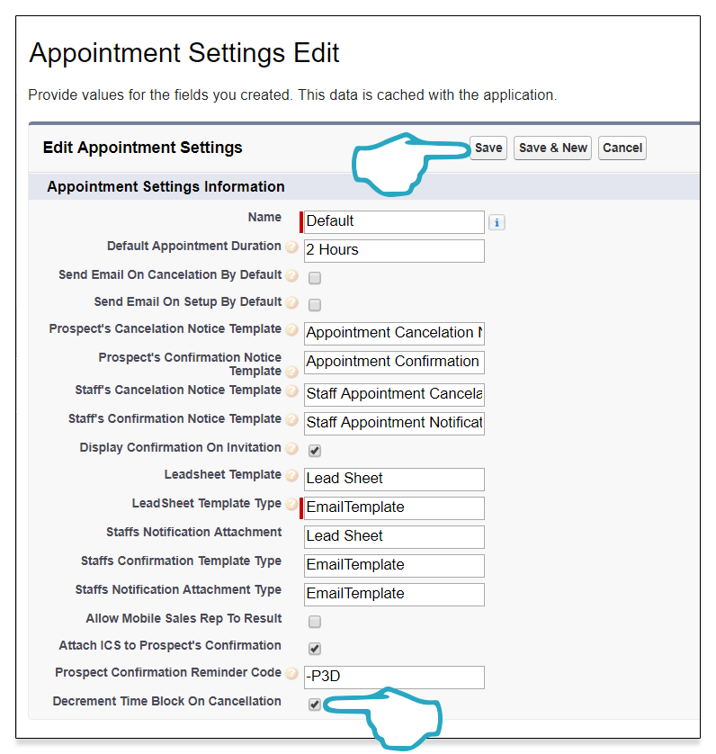 Appointment decrement time block and save click