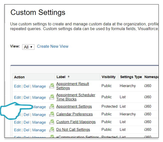 Appointment Settings custom settings Manage Click