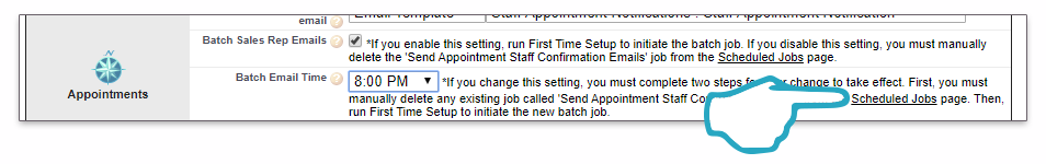 Settings Appointment Emails Batch Scheduled Jobs click