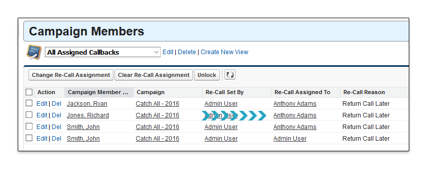 Change Re-Call Assignment Assign to New Point