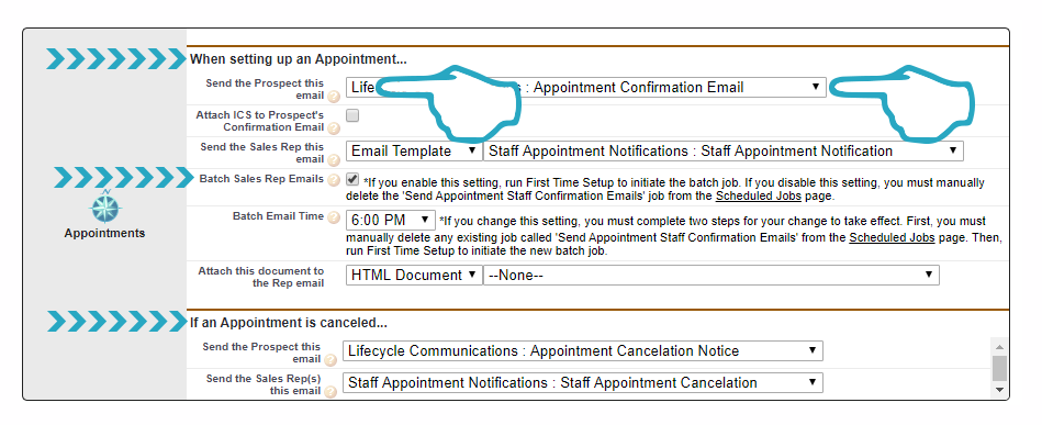 Settings Appointment Emails and Batch