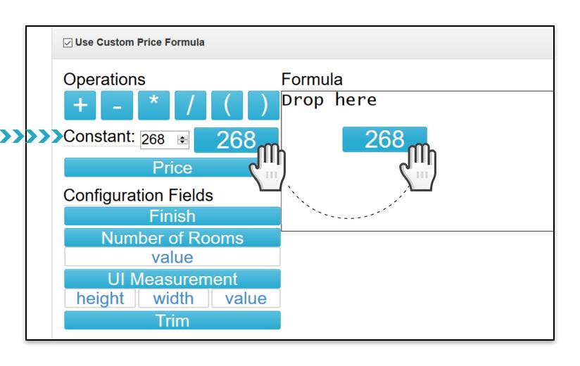 Custom Price Formula Constant Drag and Drop