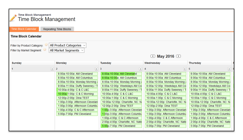 Time Block Manager Page Calendar