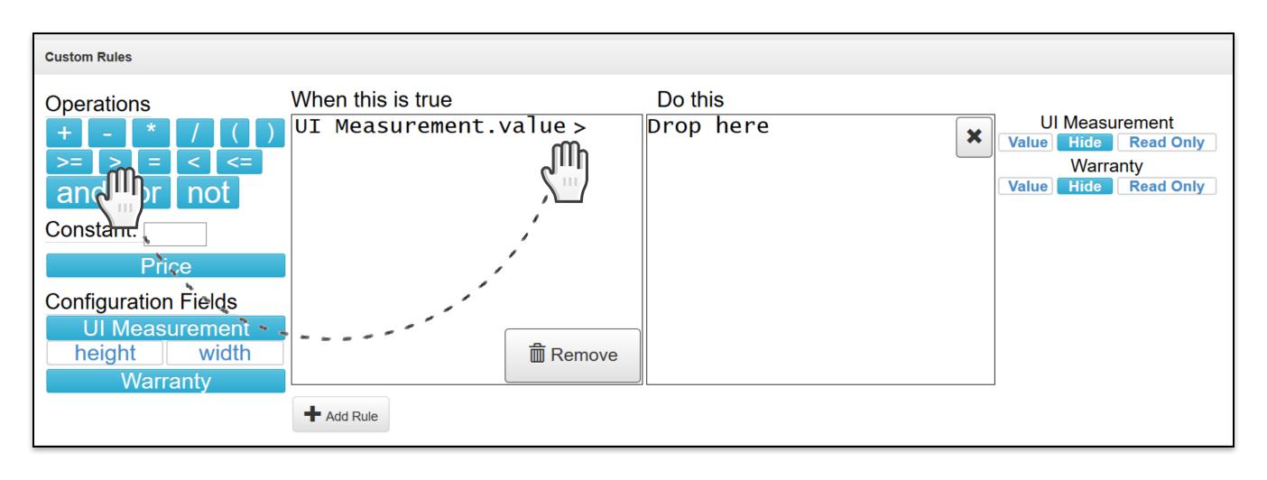 Add Custom Rule operator drop