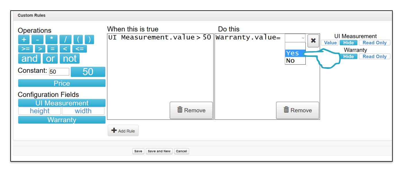 Add Custom Rule Do This value select