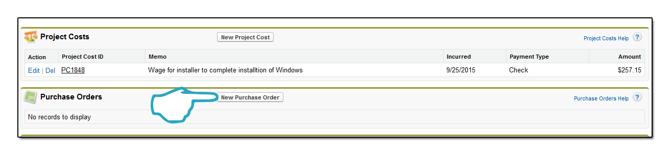 New Purchase order click