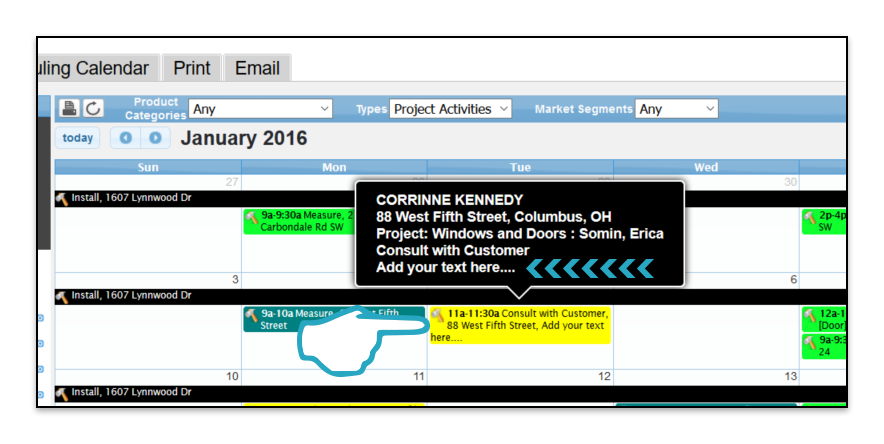 Project Activity Appointment Calendar Block Custom Text point
