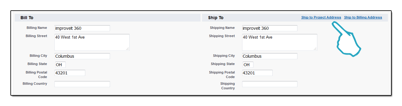 Bill to Ship to click