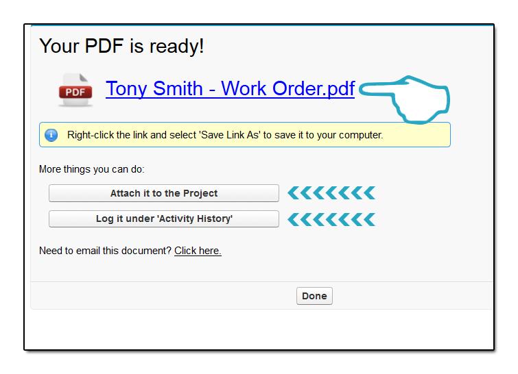 Work Order PDF click